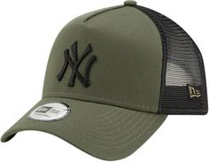 New Era Kids League Essential Trucker Cap. Olive Green with the Black NY  front logo 873892c72a55