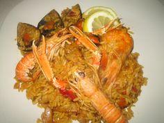 Seafood rice Rice Dishes, Paella, Shrimp, Seafood, Sea Food, Seafood Dishes