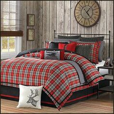 mix of patches in solids, stripes and plaids. The bold red colour is enhanced by the soft neutral tan patches in solids, stripes and plaids. hunting theme bedrooms-rustic style decorating-northwoods theme bedroom ideas-Willamsport Plaid by Woolrich  bedding superstpre