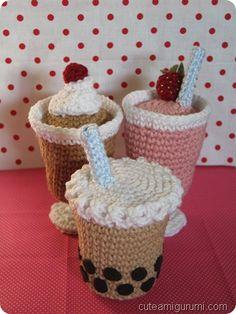 Milkshakes - Pattern: Instant Download ~ http://www.cuteamigurumi.com/milkshake-amigurumi-pattern/