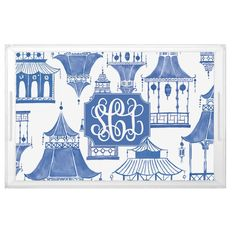 This Blue Pagoda Lucite Acrylic serving tray features a Shelby Dillon Studio exclusive Chinoiserie design and Monogram. Blue Willow China, Personalized Graduation Gifts, Chinoiserie Chic, Asian Decor, Traditional Decor, House Colors, Tapestry, House Styles, Monograms