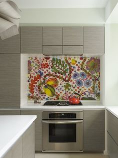 Josef Hoffman fabric encased in glass and used as a backsplash