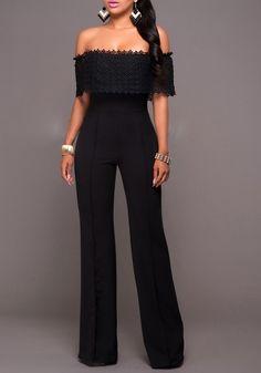 Black Patchwork Lace Zipper Off-shoulder Bandeau High Waisted Wide Leg Long Jumpsuit