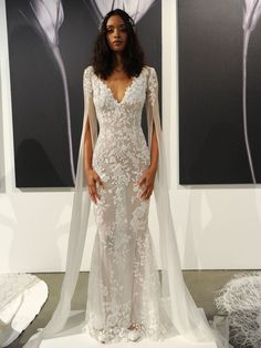 Wedding Dress Atelier Pronovias 2019 Bridal Collection: Sheer Fit And Flare Wedding Dress With Dramatic Split Sleeves - See every stunning wedding dresses from the Atelier Pronovias 2019 bridal fashion week show. Fit And Flare Wedding Dress, Boho Wedding Dress, Best Wedding Dresses, Bridal Dresses, Wedding Gowns, Dramatic Wedding Dresses, Wedding Dresses With Bling, Ball Dresses, Ball Gowns