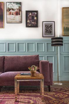 IKEA Nockeby sofa with a Bemz cover in Clover velvet.