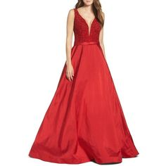 Women's Jovani Embellished Silk Gown ($898) ❤ liked on Polyvore featuring dresses, gowns, red, beaded evening dresses, silk dress, jovani gown, beaded dress and red dress