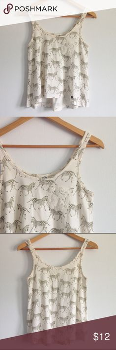 """Zebra Crop Tank with Lace Pocket Tommy Hilfiger """"tommy girl"""" zebra tank top with a lace pocket. Crop style, size small. Great condition! Measures 16"""" wide, 22"""" long. Tommy Hilfiger Tops Tank Tops"""