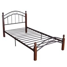 Sam Twin Bed - Black/ Mahogany/ Gold : Target $150