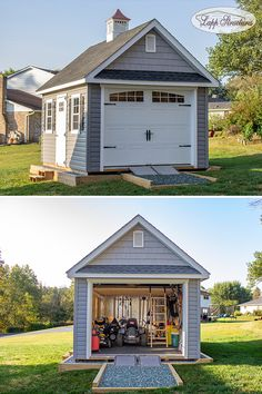 What would you store in this ultra convenient vinyl garden shed with garage door and cupola? Backyard Storage Sheds, Backyard Sheds, Outdoor Sheds, Backyard House, Backyard Retreat, Shed Building Plans, Shed Plans, House Plans, Cottage Garden Sheds