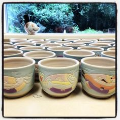 Upcoming mugs for a small Louisiana flood relief fundraiser... Instagram photo by @barbaradonovanpottery  likes