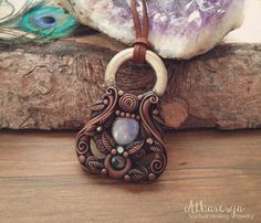 Necklace with Rainbow Moonstone and Labradorite by Atharesya