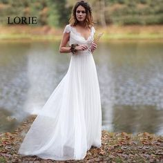 LORIE Beach Wedding Dress 2019 V Neck Appliqued wih Lace Princess Cheap  Bride Dress Tulle A 9416fcbacd8f