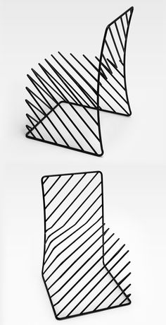 They seems like quick sketches on a notebook but they are black steel chairs, designed by the Japanese studio Nendo, in exhibition at the Saatchi Gallery of London