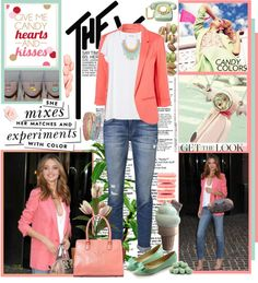"""""""Candy colors ... get the look of Miranda Kerr"""" by firstclass1 ❤ liked on Polyvore"""
