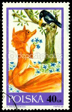 Vintage postage stamp from Poland circa 1968.  Fox and a raven