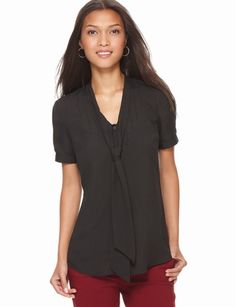 The Limited - Pintuck Bow Blouse in Modern Black #TheLimitedShirtEvent