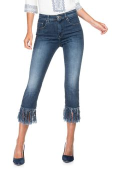 Pantalones vaqueros capri Carrie Highwaist con flecos | 116472 Medium Dark…