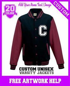 image photo text print on a personalised varsity jacket sweatshirt girls boys