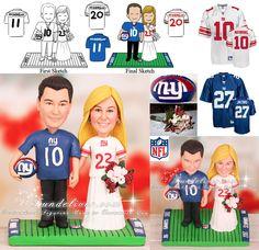 NFL New York Giants Football Wedding Cake Toppers