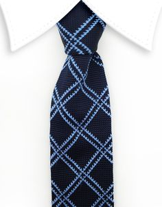 Navy Blue Knitted Tie with a Light Blue Argyle Pattern