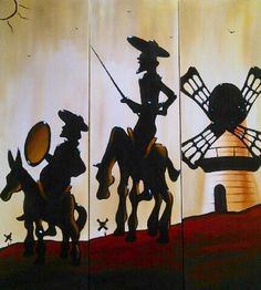 Triptico de Don Quijote y Sancho al oleo sobre canvas
