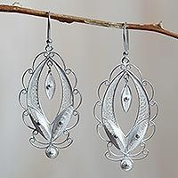 Sterling silver filigree earrings, 'Harmonious Leaves' from They help succeed worldwide. Filigree Jewelry, Filigree Earrings, Sterling Silver Filigree, Sterling Silver Earrings, Diamond Earrings, Silver Jewelry, Paper Jewelry, Diy Jewelry, Jewelry Design