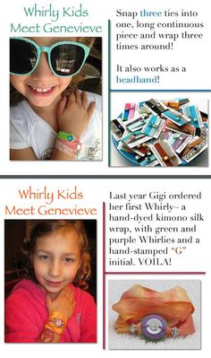 Whirly Kids! Genevieve is our youngest Whirly Girl and she invented a new way to use her Whirly Snaps.  Snap three together into one long continuous length and Wrap n' Snap.  Works as a hair tie too!