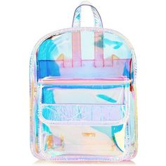 Skinnydip Clear Holographic Backpack (980 UYU) ❤ liked on Polyvore featuring bags, backpacks, accessories, backpack, snap bag, backpack bags, blue backpack, snap backpack and blue bag