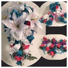 Malibu Turquoise Fuchsia Bridal Bouqet Cascade Package Boutonniere Corsage   | eBay