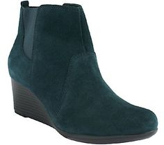Clarks Bendables Suede or Leather Wedge Boots - Crystal Quartz