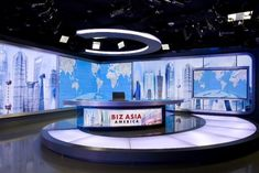 We've added photos of CCTV's new studio in Washington, D. The set was designed by Broadcast Design International. Virtuelles Studio, Studio Living, Video Studio, Studio Setup, Studio Design, Tv Set Design, Stage Design, Booth Design, Youtube Banner Template