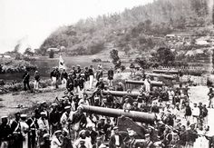 Michael Doran fought with Battalion, Regiment of Foot in the Shimonoseki Campaign, Japan in This photo by Felipe Beato shows the capture of a Chosu battery at Simonoseki. Boshin War, British Marine, The Last Samurai, Man Of War, Japanese History, Japan Photo, Hampton Roads, Royal Navy, American Civil War