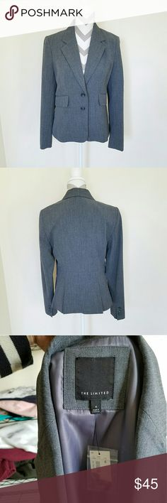 The Limited Buttoned Blazer! Gray blazer with 2 front button closures and 2 front pockets. Thin shoulder pads. Length is about 24 inches and armpit to armpit is about 18. Brand new with tags! The Limited Jackets & Coats Blazers