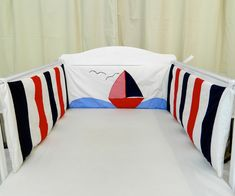 Cot bumper with a nautical sailing boat theme Nautical Baby Bedding, Baby Nursery Bedding, Nautical Nursery, Babies Nursery, Boat Theme, Cot Bumper, Nursery Themes, Nursery Ideas, Nursery Fabric