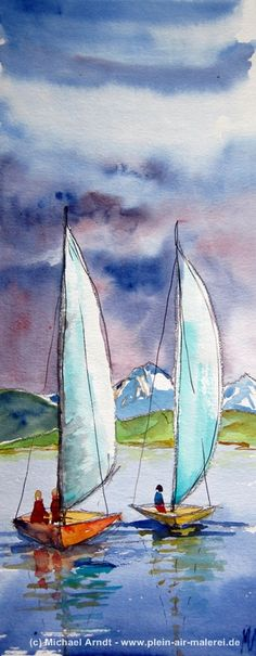 Watercolor Sailboats | Sailboats, Watercolor 20cm x 50cm .