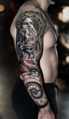 35 cool sleeve tattoos for men & women – tattoo sleeve men Forarm Tattoos, God Tattoos, Arm Sleeve Tattoos, Body Art Tattoos, Tattoos For Guys, Clock Tattoos, Tattoo Ink, Tiny Tattoo, Tattos