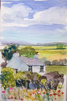 A fine day - Annabel Burton Watercolor Landscape, Watercolor And Ink, Landscape Art, Landscape Paintings, Watercolor Paintings, Watercolours, Landscapes, Watercolor Sketchbook, Art Sketchbook