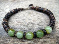Mens bracelet jade and coconut shell beads by thehappymushroom, £7.20