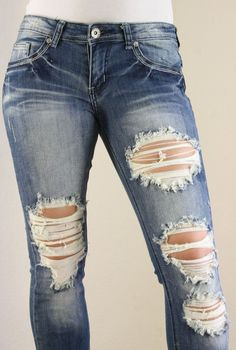 women's holey jeans | ... MACHINE JEANS RIPPED DISTRESSED ...