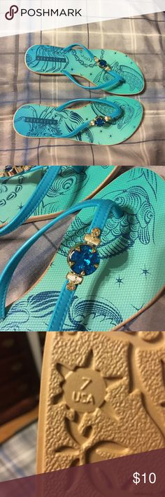 Sandals Light blue sandals with a blue and gold detailing attention Shoes Sandals