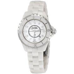 Chanel H1628 J12 Diamonds Unisex Watch CHANEL. $5299.00. Quartz movement. 33mm case dimension. White Ceramic case. White/Diamond dial. White Ceramic band. Save 18%!