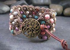 Wide Crochet Cuff Bracelet, Colorful bohemian thick bracelet wrap,  Boho Hippie Chic jewelry