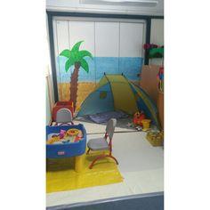 Sensory beach role-play area! Motor Activities, Activities For Kids, Role Play Areas, Vacation Bible School, Splish Splash, Gross Motor, Seaside, Classroom Ideas, Ocean