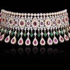 Jewelry OFF! Gemville — Burmese Ruby Emerald Diamond and Pearl Choker Stylish Jewelry, High Jewelry, Luxury Jewelry, Modern Jewelry, Gold Jewelry, Fashion Jewelry, Diamond Choker Necklace, Pearl Choker, Choker Jewelry