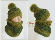 Margo77 Green Ombre Girls Hat Cowl