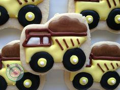 Dump Truck, Dump Truck!Perfect little cookies for the little mover in your life!Sweet Dump truck cookies are hand made and decorated just for you.Cookies measure 3inches wide by 2.5 inches high.Each comes individually wrapped and sealed for max protection and freshness.
