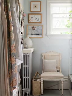 home of heather shaw via sfgirlbybay - covet garden Victorian Chair, Little Corner, Handmade Home, Glamour, Warm And Cozy, Ladder Decor, Home Accessories, Sweet Home, House Design
