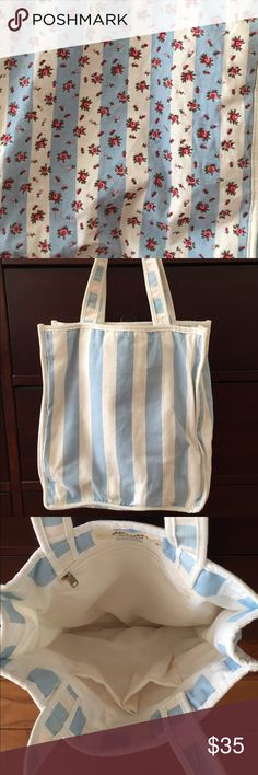"Shabby Chic American Country Tote Stitching rose one blue and white strip fabric. Size: 12""x10""x2"" not including handles Bags Totes"