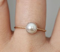 White Pearl In 14K Gold - Made To Order. $118.00, via Etsy.