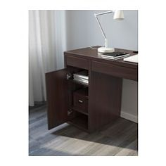 IKEA - MICKE, Desk, black-brown, , It's easy to keep cords and cables out of… Ikea Micke, Micke Desk, Black Desk, Drawer Unit, Work Surface, Home Office Furniture, Adjustable Shelving, Your Space, Home Remodeling